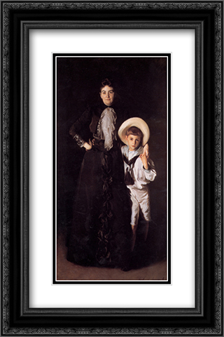 Mrs. Edward L. Davis and Her Son Livingston 16x24 Black or Gold Ornate Framed and Double Matted Art Print by John Singer Sargent