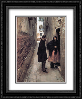 Street in Venice 20x24 Black or Gold Ornate Framed and Double Matted Art Print by John Singer Sargent