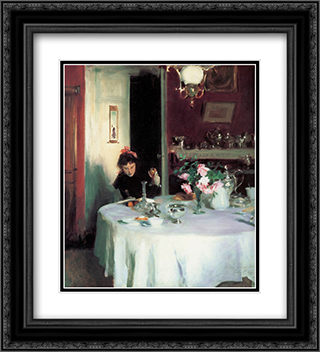 The Breakfast Table 20x22 Black or Gold Ornate Framed and Double Matted Art Print by John Singer Sargent