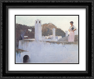 View of Capri 24x20 Black or Gold Ornate Framed and Double Matted Art Print by John Singer Sargent