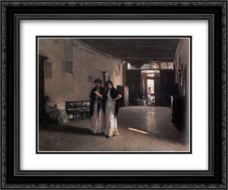 Venetian Interior 24x20 Black or Gold Ornate Framed and Double Matted Art Print by John Singer Sargent