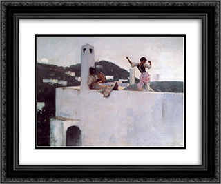 Capri 24x20 Black or Gold Ornate Framed and Double Matted Art Print by John Singer Sargent