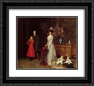 Sir George Sitwell, Lady Ida Sitwell and Family 22x20 Black or Gold Ornate Framed and Double Matted Art Print by John Singer Sargent