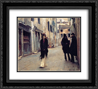 Street in Venice 22x20 Black or Gold Ornate Framed and Double Matted Art Print by John Singer Sargent