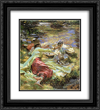 The Chess Game 20x22 Black or Gold Ornate Framed and Double Matted Art Print by John Singer Sargent