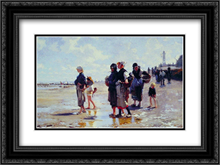 Oyster Gatherers of Cancale 24x18 Black or Gold Ornate Framed and Double Matted Art Print by John Singer Sargent