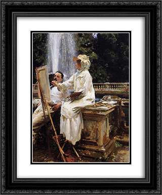 The Fountain, Villa Torlonia, Frascati, Italy 20x24 Black or Gold Ornate Framed and Double Matted Art Print by John Singer Sargent