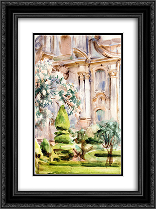 A Palace and Gardens, Spain 18x24 Black or Gold Ornate Framed and Double Matted Art Print by John Singer Sargent