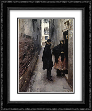 A Street in Venice 20x24 Black or Gold Ornate Framed and Double Matted Art Print by John Singer Sargent