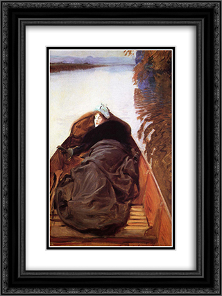 Autumn on the River 18x24 Black or Gold Ornate Framed and Double Matted Art Print by John Singer Sargent