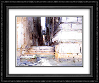 Base of a Palace 24x20 Black or Gold Ornate Framed and Double Matted Art Print by John Singer Sargent