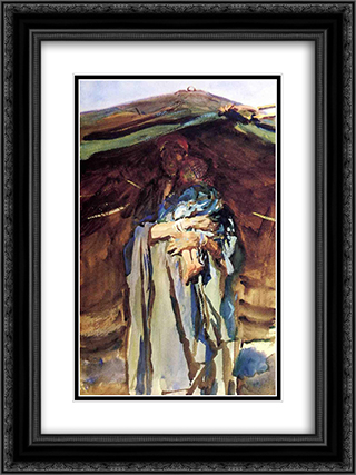 Bedouin Mother 18x24 Black or Gold Ornate Framed and Double Matted Art Print by John Singer Sargent