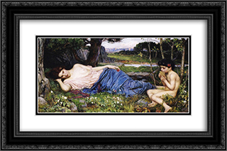 Listening to His Sweet Pipings 24x16 Black or Gold Ornate Framed and Double Matted Art Print by John William Waterhouse