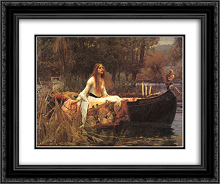 The Lady of Shalott 24x20 Black or Gold Ornate Framed and Double Matted Art Print by John William Waterhouse
