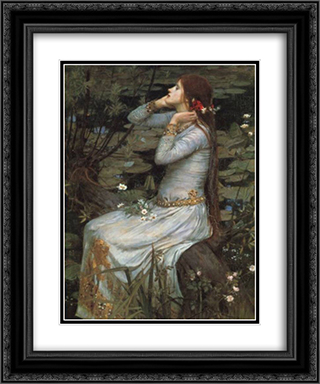Ophelia 20x24 Black or Gold Ornate Framed and Double Matted Art Print by John William Waterhouse