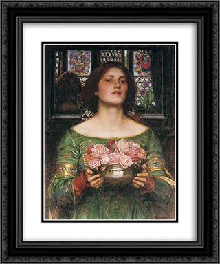 Gather Ye Rosebuds while ye may 20x24 Black or Gold Ornate Framed and Double Matted Art Print by John William Waterhouse