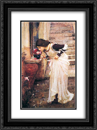 At the Shrine 18x24 Black or Gold Ornate Framed and Double Matted Art Print by John William Waterhouse