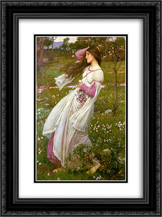 Windswept 18x24 Black or Gold Ornate Framed and Double Matted Art Print by John William Waterhouse