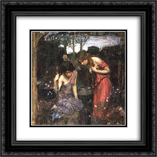 Nymphs Finding the Head of Orpheus 20x20 Black or Gold Ornate Framed and Double Matted Art Print by John William Waterhouse