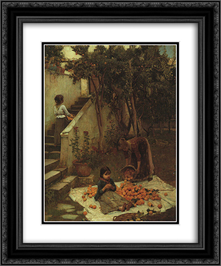 The Orange Gatherers 20x24 Black or Gold Ornate Framed and Double Matted Art Print by John William Waterhouse