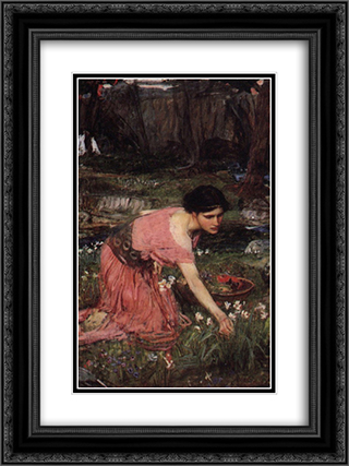 Flora 18x24 Black or Gold Ornate Framed and Double Matted Art Print by John William Waterhouse