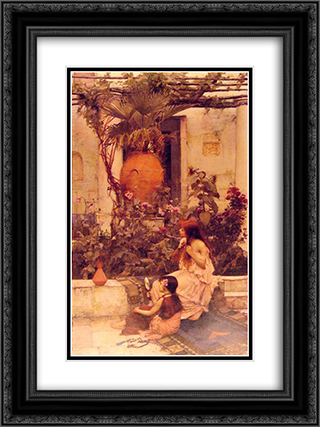 At Capri 18x24 Black or Gold Ornate Framed and Double Matted Art Print by John William Waterhouse