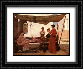 A Grecian Flower Market 24x20 Black or Gold Ornate Framed and Double Matted Art Print by John William Waterhouse