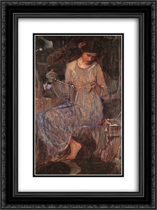 The Necklace 18x24 Black or Gold Ornate Framed and Double Matted Art Print by John William Waterhouse