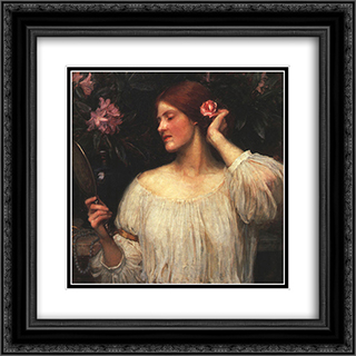 Vanity 20x20 Black or Gold Ornate Framed and Double Matted Art Print by John William Waterhouse