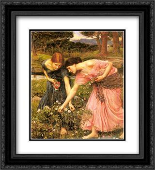 Gather ye Rosebuds while ye may 20x22 Black or Gold Ornate Framed and Double Matted Art Print by John William Waterhouse