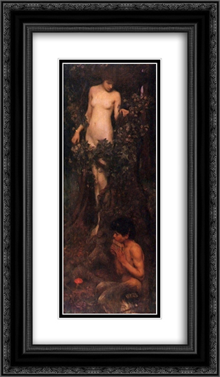 The Hamadryad 14x24 Black or Gold Ornate Framed and Double Matted Art Print by John William Waterhouse