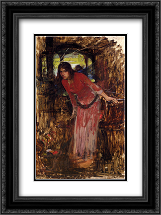Study For The Lady Of Shallot 18x24 Black or Gold Ornate Framed and Double Matted Art Print by John William Waterhouse