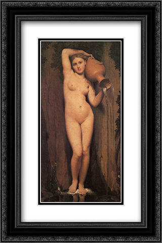 La Source 16x24 Black or Gold Ornate Framed and Double Matted Art Print by Jean Auguste Dominique Ingres