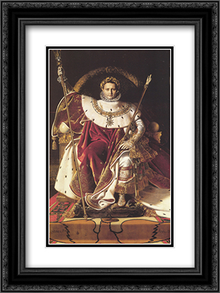 Napoleon I on His Imperial Throne 18x24 Black or Gold Ornate Framed and Double Matted Art Print by Jean Auguste Dominique Ingres