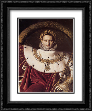 Napoleon I on His Imperial Throne [detail] 20x24 Black or Gold Ornate Framed and Double Matted Art Print by Jean Auguste Dominique Ingres