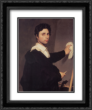 Copy after Ingres's 1804 Self-Portrait 20x24 Black or Gold Ornate Framed and Double Matted Art Print by Jean Auguste Dominique Ingres