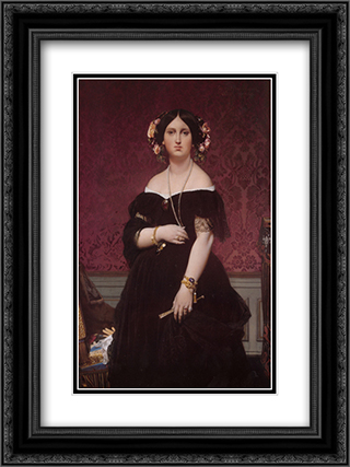 Madame Paul-Sigisbert Moitessier, nee Marie-Clotilde-Ines de Foucauld, Standing 18x24 Black or Gold Ornate Framed and Double Matted Art Print by Jean Auguste Dominique Ingres