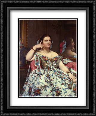 Madame Paul-Sigisbert Moitessier, nee Marie-Clotilde-Ines de Foucauld, Seated 20x24 Black or Gold Ornate Framed and Double Matted Art Print by Jean Auguste Dominique Ingres