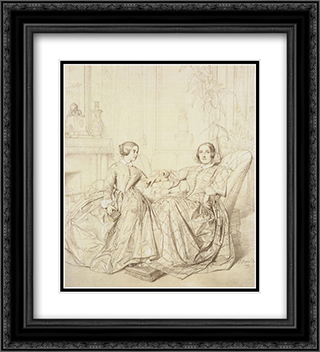 Comtesse Charles d'Agoult, nee Marie de Flavigny, and Her Daughter Claire d'Agoult 20x22 Black or Gold Ornate Framed and Double Matted Art Print by Jean Auguste Dominique Ingres