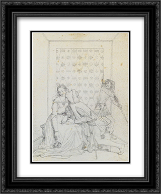 Paolo et Francesca 20x24 Black or Gold Ornate Framed and Double Matted Art Print by Jean Auguste Dominique Ingres
