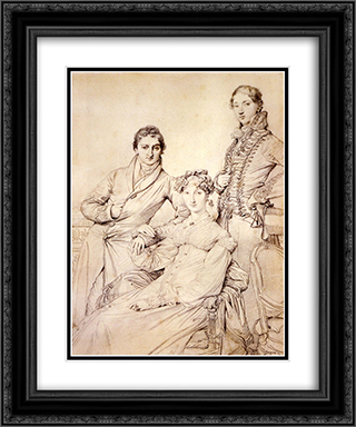 Jospeh Woodheda and his wife, born Harriet Comber, and her Brother, Henry George Wandesford Comber 20x24 Black or Gold Ornate Framed and Double Matted Art Print by Jean Auguste Dominique Ingres
