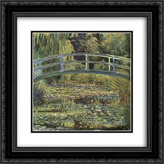 The Waterlily Pond 20x20 Black or Gold Ornate Framed and Double Matted Art Print by Claude Monet