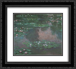 Water Lillies I 22x20 Black or Gold Ornate Framed and Double Matted Art Print by Claude Monet