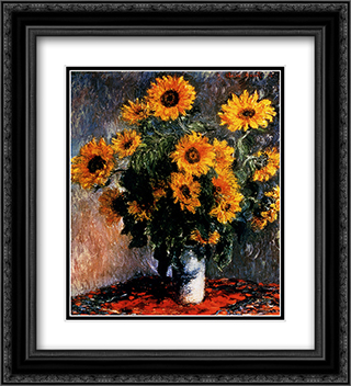 Sunflowers 20x22 Black or Gold Ornate Framed and Double Matted Art Print by Claude Monet