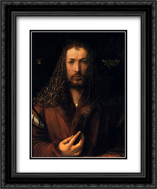 Self Portrait 20x24 Black or Gold Ornate Framed and Double Matted Art Print by Albrecht Durer