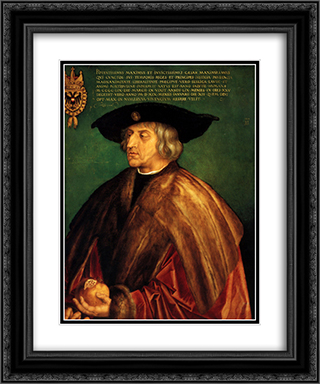 Portrait of Emperor Maximillian I 20x24 Black or Gold Ornate Framed and Double Matted Art Print by Albrecht Durer