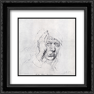 Self-Portrait 20x20 Black or Gold Ornate Framed and Double Matted Art Print by Albrecht Durer