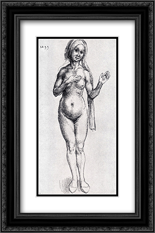 Female Nude (With Headcloth And Slippers) 16x24 Black or Gold Ornate Framed and Double Matted Art Print by Albrecht Durer