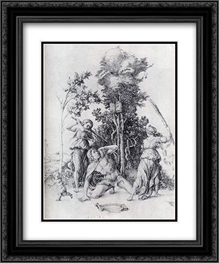 Orpheus Slain By Bacchantes, With A Boy Running Away 20x24 Black or Gold Ornate Framed and Double Matted Art Print by Albrecht Durer