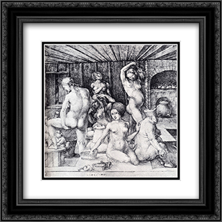 The Women's Bath 20x20 Black or Gold Ornate Framed and Double Matted Art Print by Albrecht Durer